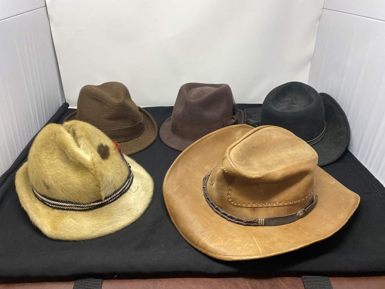 Lot # 167 - Five Vintage Hats: Stetson, Broner, Pendleton, Seal Skin, & Leather (main image)