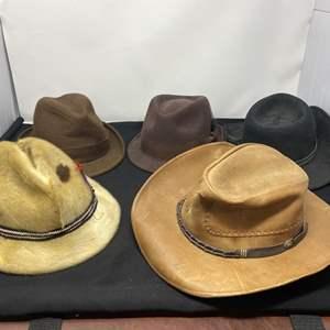Lot # 167 - Five Vintage Hats: Stetson, Broner, Pendleton, Seal Skin, & Leather