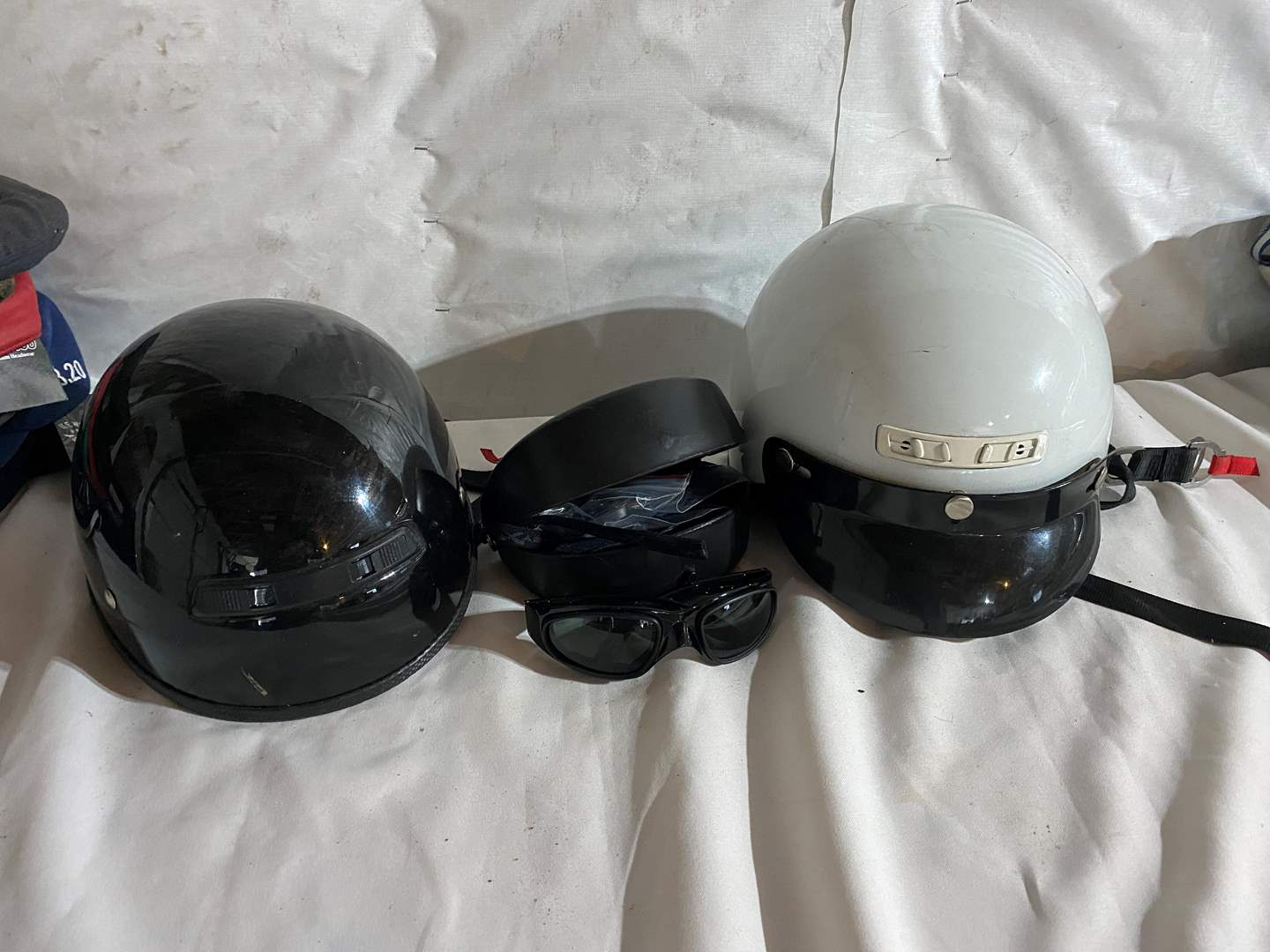 Lot # 169 - Two Motorcycle Helmets (Size Small) & Riding Glasses (main image)