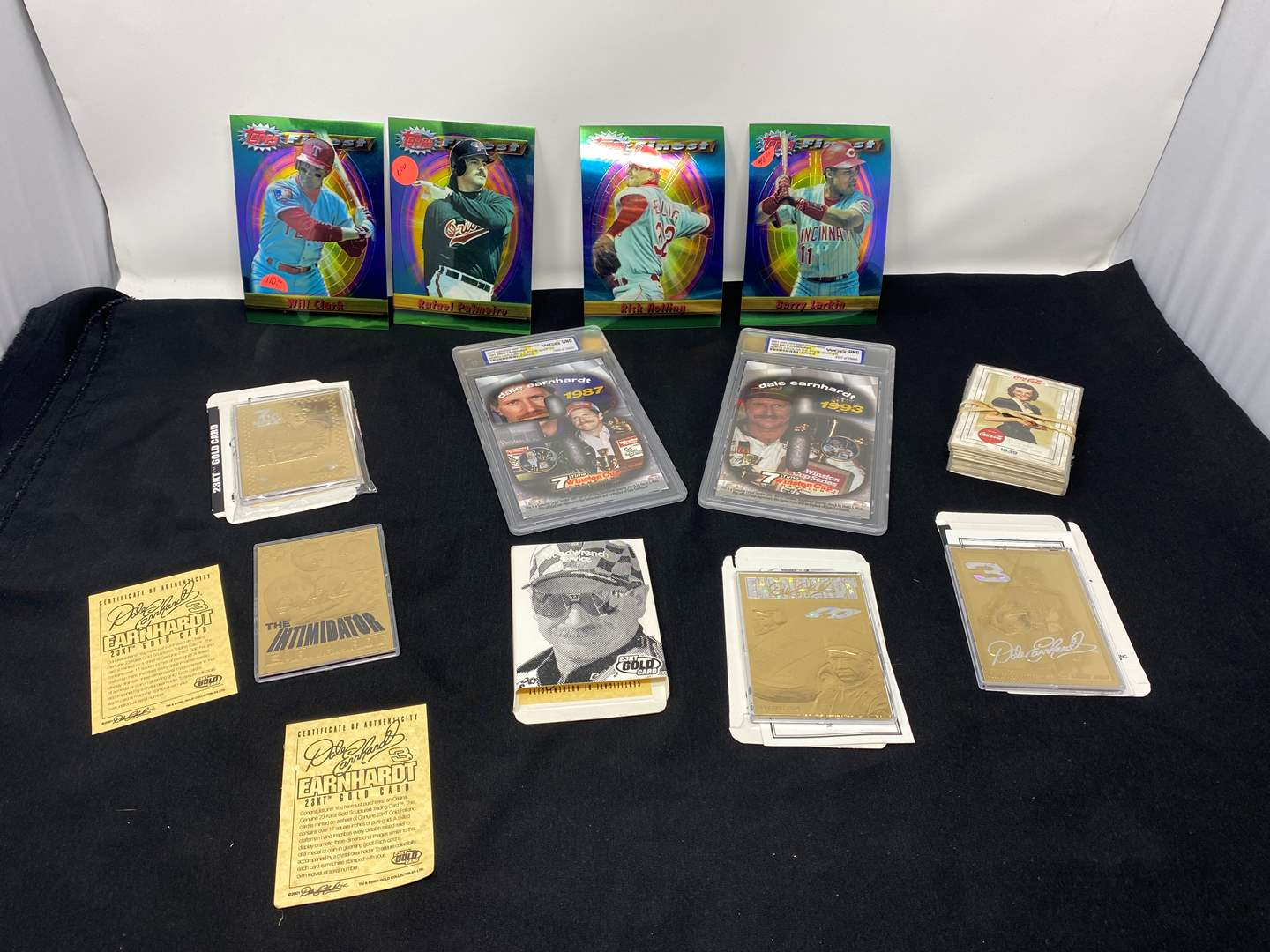 Lot # 173 - Dale Earnhardt Gold Collectors Cards, Dale Earnhardt State Quarters, Large Sports Cards, Coca-Cola Collector Cards (main image)