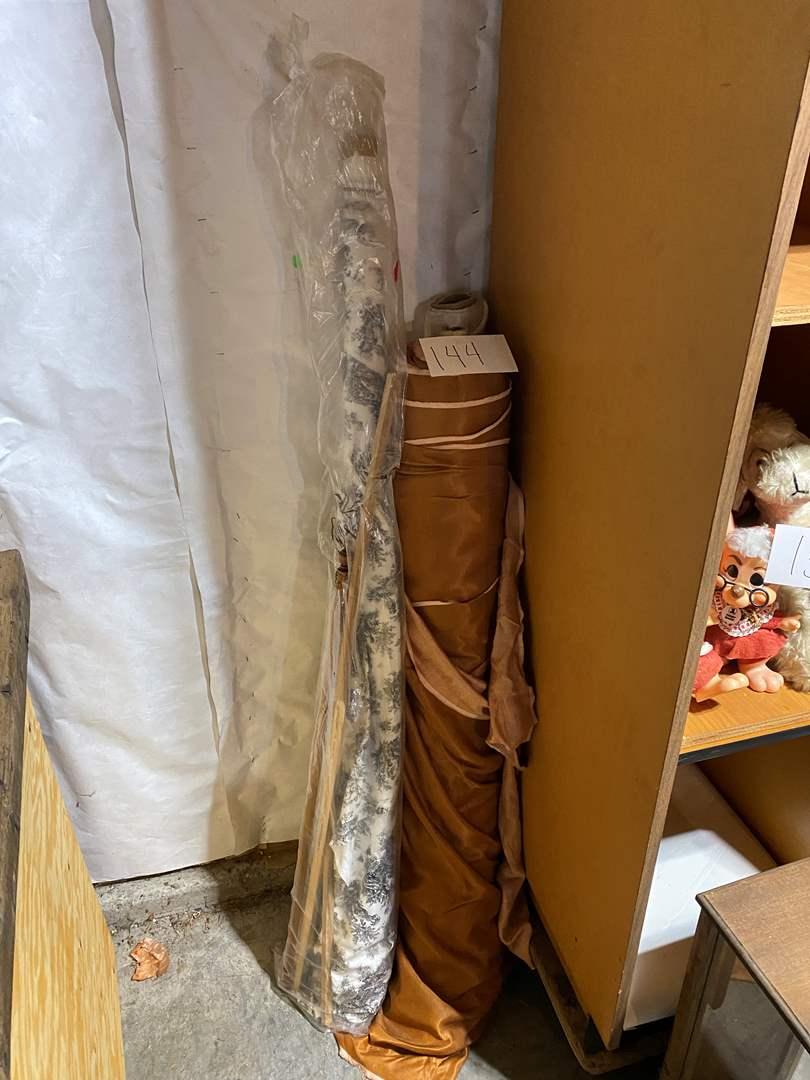 Lot # 144 - Three Rolls of Fabric & Bag Full of Silk Fabric (main image)