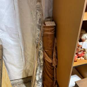 Lot # 144 - Three Rolls of Fabric & Bag Full of Silk Fabric