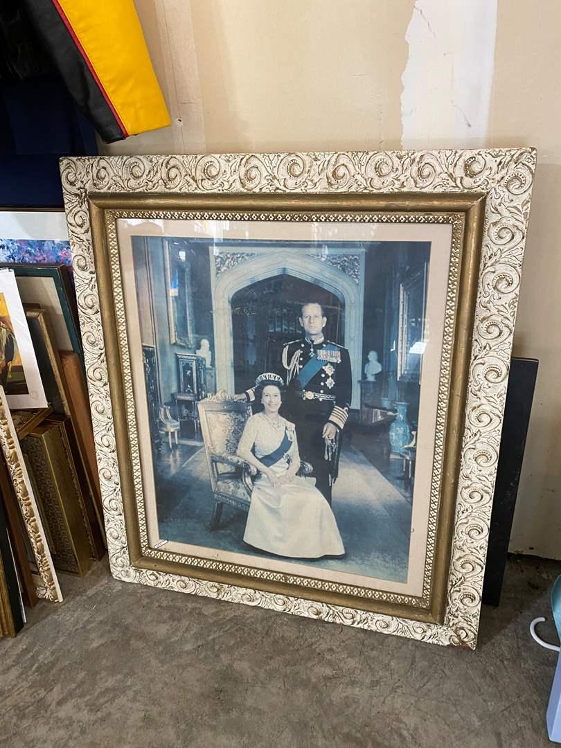 Lot # 205 - Large Wood Framed Print of Queen Elizabeth (main image)