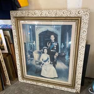 Lot # 205 - Large Wood Framed Print of Queen Elizabeth