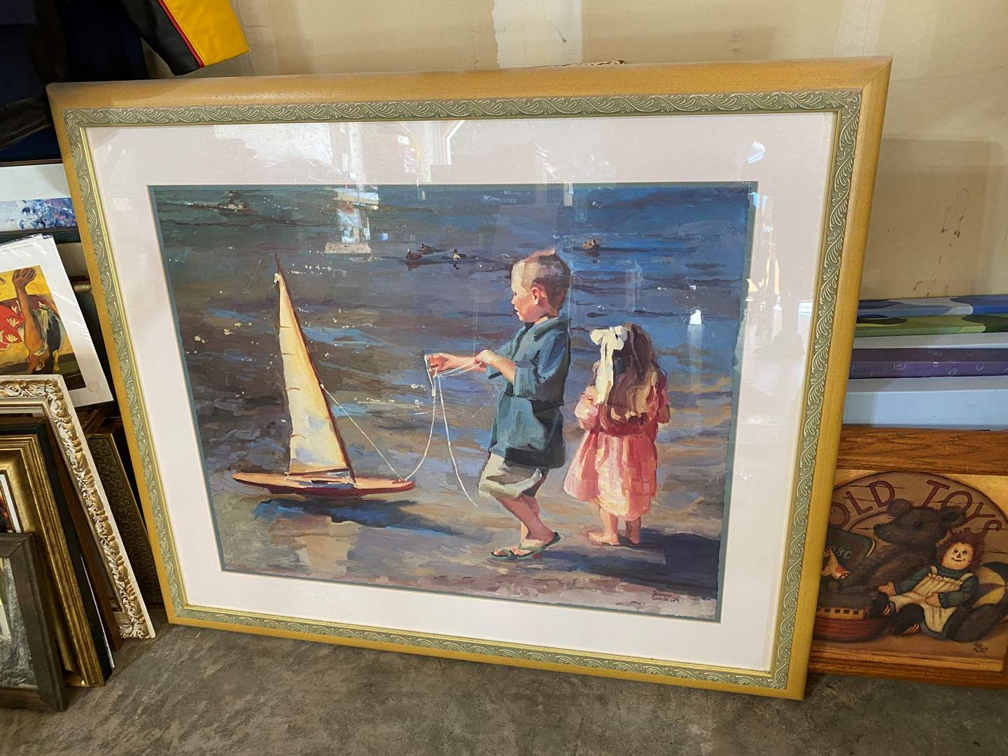 """Lot # 206 - Framed Artwork """"Smooth Sailing"""" by Crookston (main image)"""