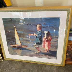 """Lot # 206 - Framed Artwork """"Smooth Sailing"""" by Crookston"""