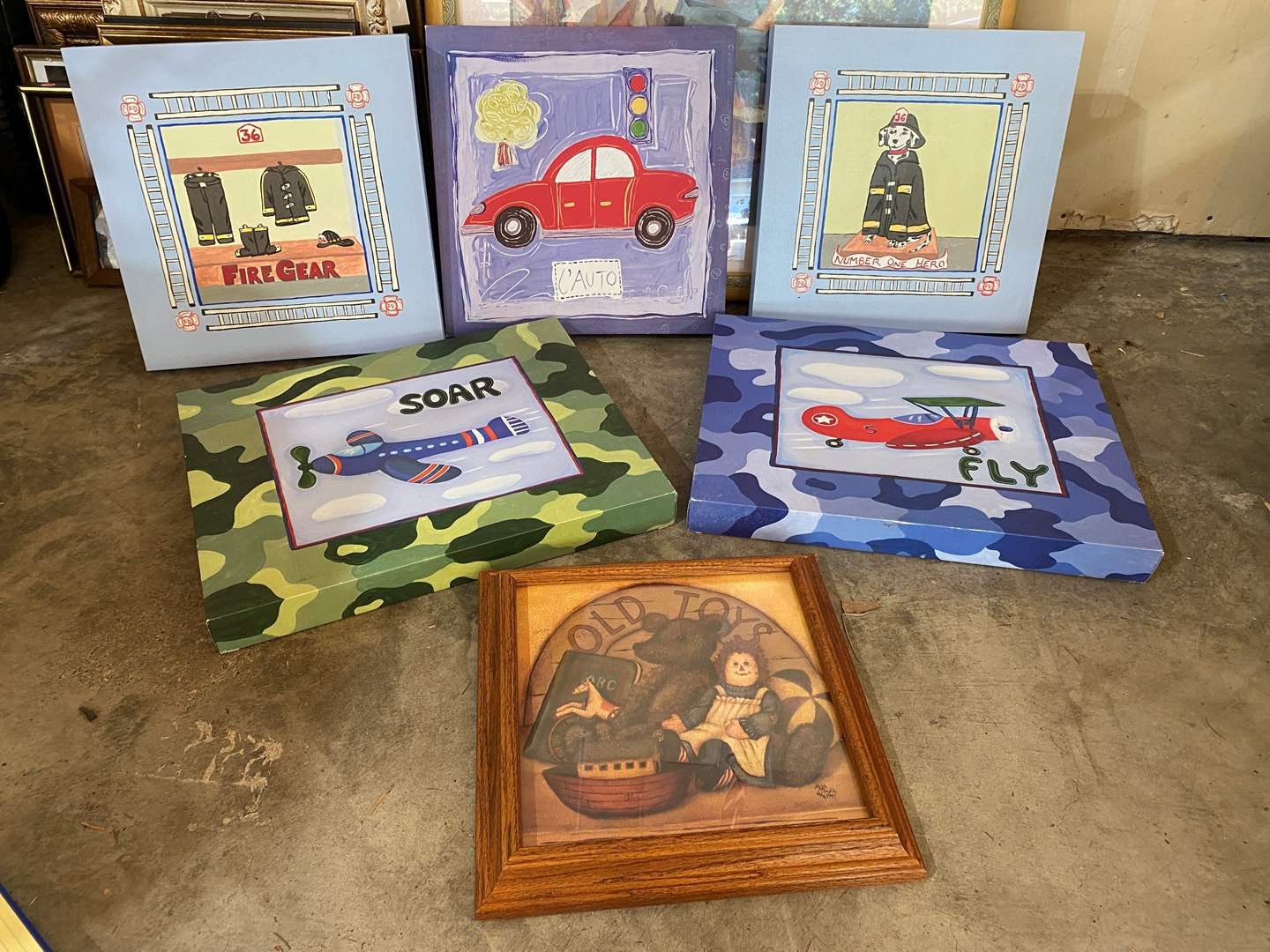 """Lot # 207 - Children's Canvas Wall Hangings & Framed """"Old Toys"""" Print (main image)"""