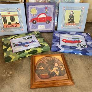 """Lot # 207 - Children's Canvas Wall Hangings & Framed """"Old Toys"""" Print"""
