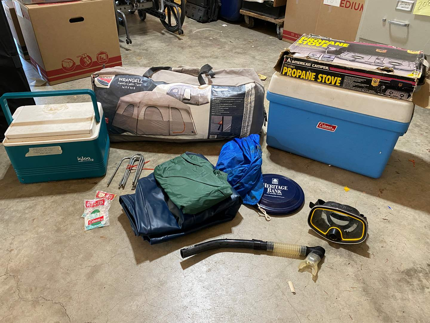 Lot # 215 - Camping: Coleman Cooler, Large Family Cabin Tent, Propane Stove, Inflatable Bed & More (main image)