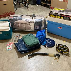 Lot # 215 - Camping: Coleman Cooler, Large Family Cabin Tent, Propane Stove, Inflatable Bed & More