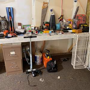 Lot # 217 - Bench Full of Tools, Hardware & More - (See Pictures)