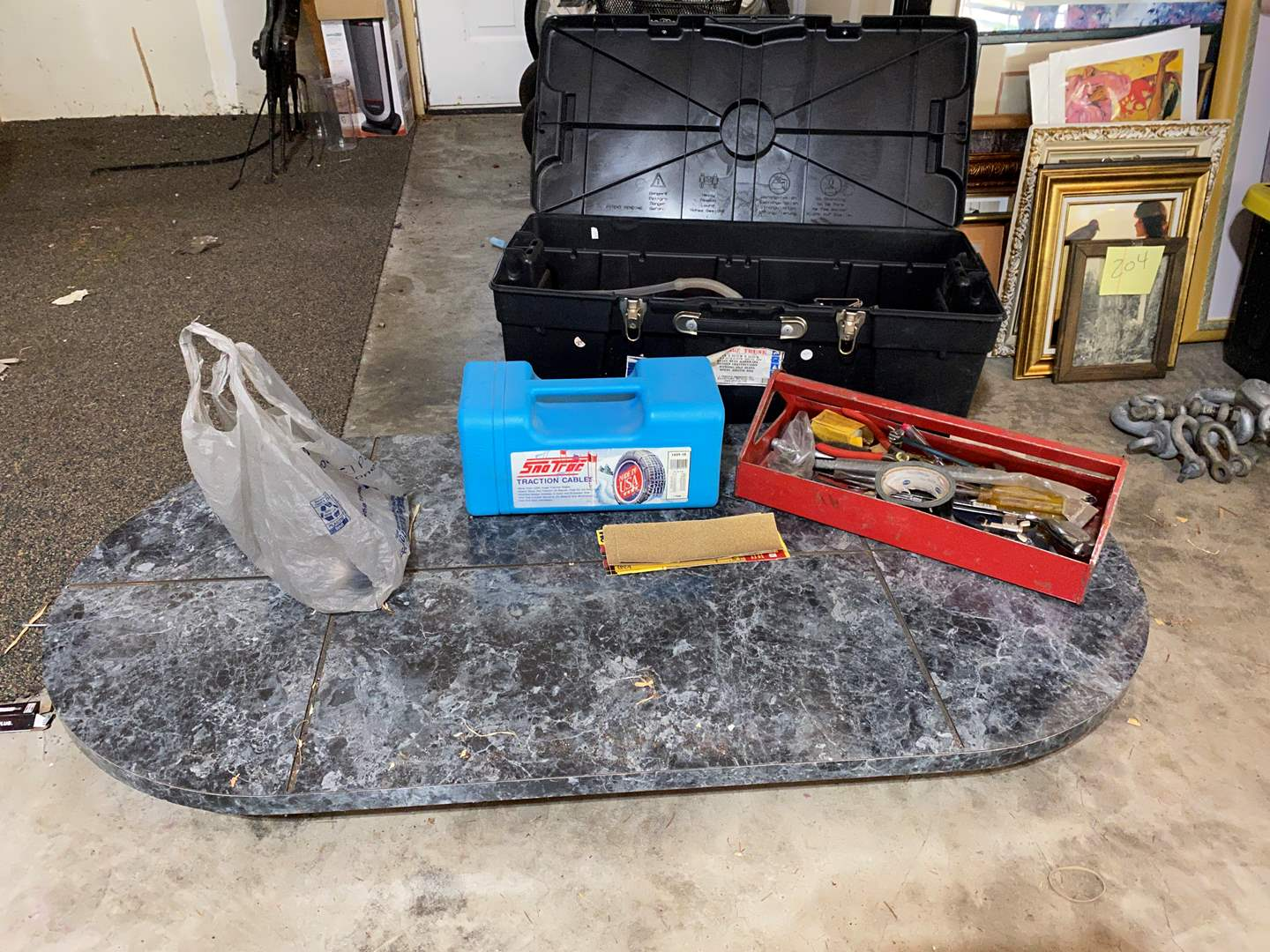 Lot # 218 - Flat Rolling Cart, Bin Full of Misc. Tools & Harware, Snow Tire Cables (main image)