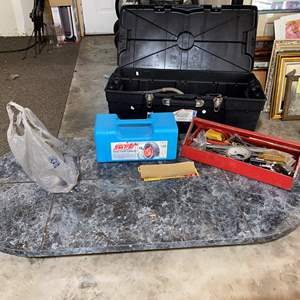 Lot # 218 - Flat Rolling Cart, Bin Full of Misc. Tools & Harware, Snow Tire Cables