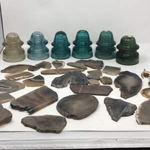 Lot # 36 - Lot of Vintage Insulators & Slabs of Unpolished Stones