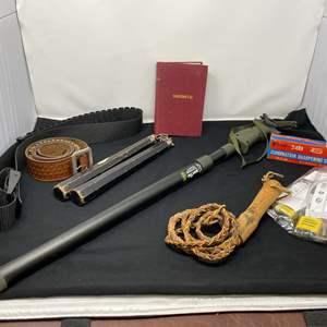 Lot # 59 - Ammunition Belts, Firearm Locks, Rifle Stand, Wood Num-chuks, Whip, & More