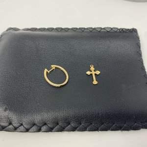 Lot # 78 - 14k Gold & Diamond Earring, 14k Gold Cross - (Tested - 2.95 grams)
