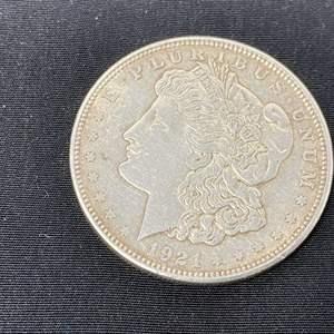 "Lot # 96 - 1921 Morgan Silver Dollar - (Mint Mark ""D"")"
