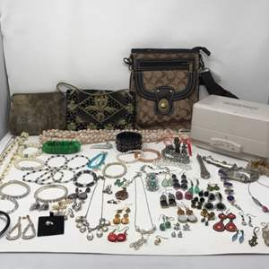 Lot # 115 - Selection of Costume Jewelry (Some .925), Pair of 10k AHB Earrings, Knockoff Coach Purse, Seal Skin Bag