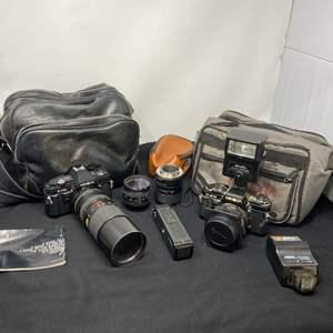 Lot # 126 - Vintage Minolta X-570 Camera, Minolta X370 Camera, Camera Lenses & Bags