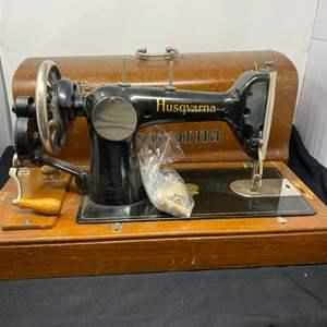Lot # 143 - Antique Husqvarna Hand Crank Sewing Machine w/ Wood Case