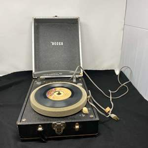 """Lot # 147 - Vintage """"Deca"""" Suitcase Record Player - (Model DPS8 - Powers On)"""