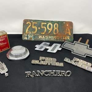 Lot # 165 - Vintage Jaguar Cap, Vintage License Plate, & Car Emblems