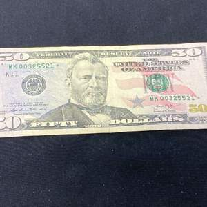 Lot # 100H - 2013 $50.00 Star Stamped Bank Note - (MK00325521*)