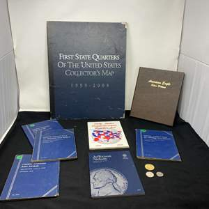 Lot # 100i - Empty Coin Collection Books & Three Coins