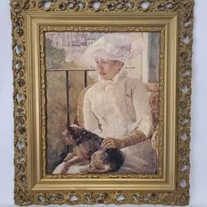 Lot # 26 Mary Cassatt - Woman With Dog On Balconey