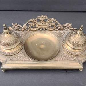 Lot # 64 Antique Brass Inkwell