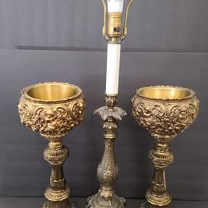 Lot # 66 Vintage Cambridge Lamp w/ Metal Candle Holders