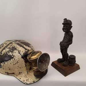 Lot # 74 Antique Fiberglass Coal Miners Hardhat, Carbide Lamp & Miner Figurine
