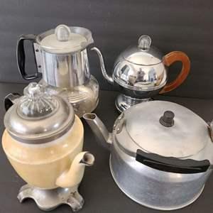 Lot # 75 Vintage Percolators & Tea Pot