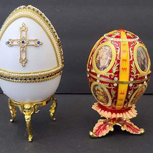 Lot # 76 Faberge Egg Pair