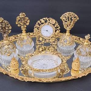 Lot # 83 Matson 24k Gold Plated Vanity Set