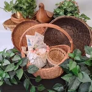 Lot # 84 Baskets, Faux Plants & More