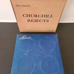 Lot # 90 Leonard Crystal and Silver Ashtray Coasters & Churchill Box