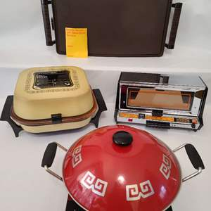 Lot # 97 3 Vintage New In Box Cooking Appliances & Electric Wok