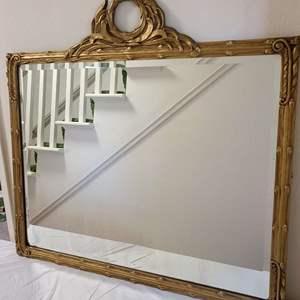 Lot # 99 Vintage Wood Framed Beveled Glass Mirror