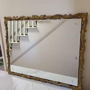 Lot # 100 Vintage Wood Framed Beveled Glass Mirror #2
