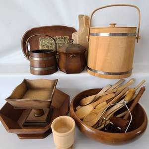 Lot # 104 Assorted Wood Kitchen Items & More