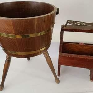 Lot # 110 Vintage Standing Wood Bucket & Shoe Shine Stand