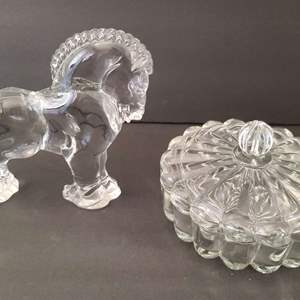 Lot # 113 Heisey by Mosser for Longaberger Glass Clydesdale & Candy Dish