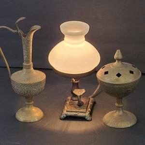 Lot # 114 Vintage India Made Brass Pitcher & Incense Burner w/Desk Lamp