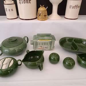 Lot # 143 Jim Beam Decanter & Ceramic Kitchenware
