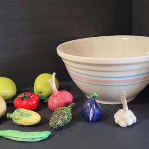 Lot # 151 Canning Bowl & Ceramic Veggies