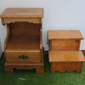 Lot # 165 Small Nightstand & Stepstool