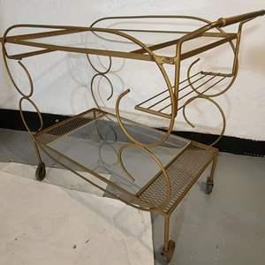 Lot # 171 VTG Metal & Glass Bar Cart