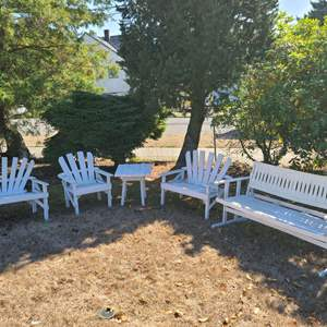 Lot # 174 VTG Wood Adirondack Chairs, Bench Swing & Table w/Cushions