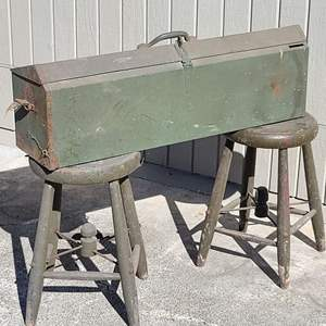 Lot # 176 VTG Kennedy K32 Carpenters Toolbox & Wooden Stools